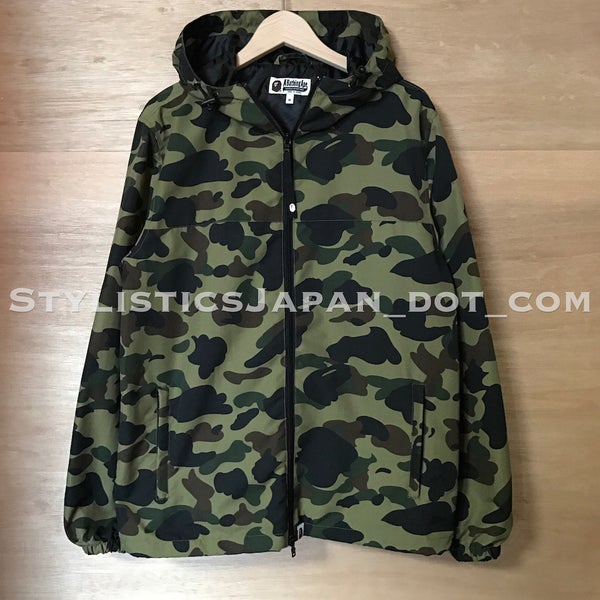 Image of A Bathing Ape Bape 1st Camo Nylon Hooded Jacket Green M