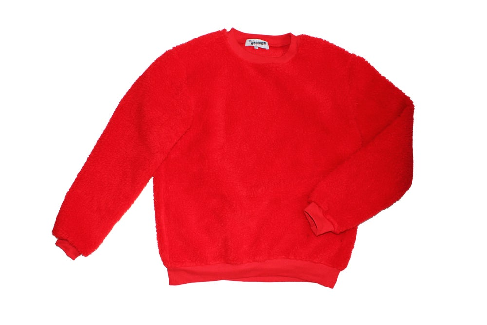 Image of Sudadera roja de borreguito . Red fur sweatshirt . OFERTA!