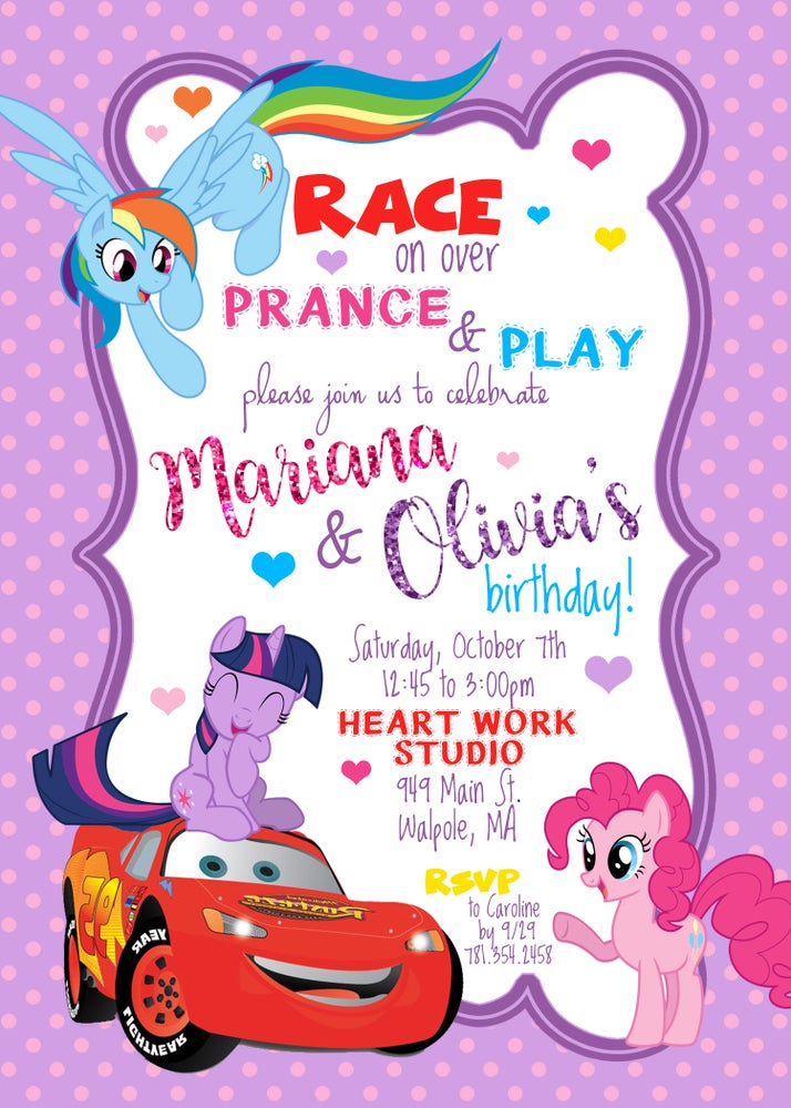 Image of Custom Cars/My Little Pony Birthday Invitation