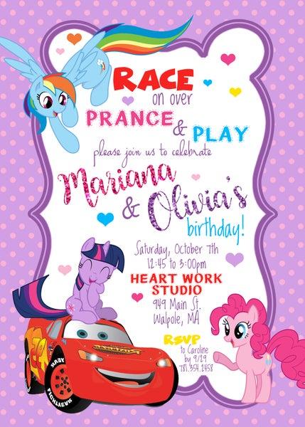Image of Custom Cars/My Little Pony Birthday Invitation