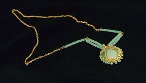 Image of Aqua Beaded Wired Wrap Necklace