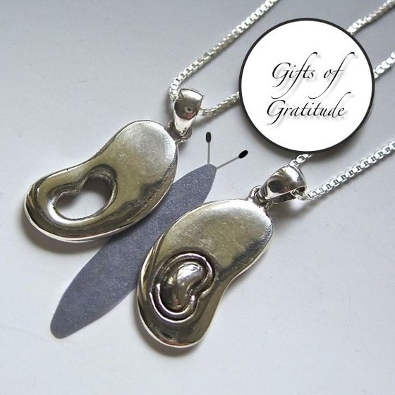 "Image of Transplant Gift Set: Donor/Recipient Sterling ""Butterfly Wing"" Kidney Pendants"
