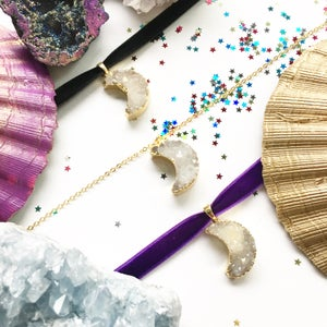 Image of Crystal Moon Choker / Necklace - with Aura Quartz Crystal - Golden