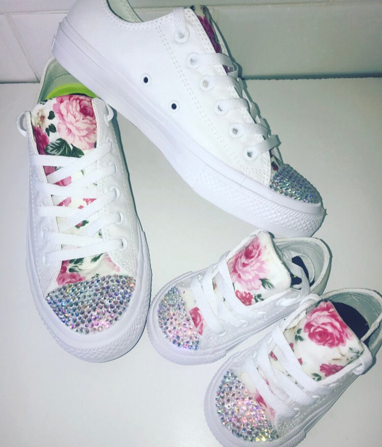 Image of Floral sparkle matching converse set