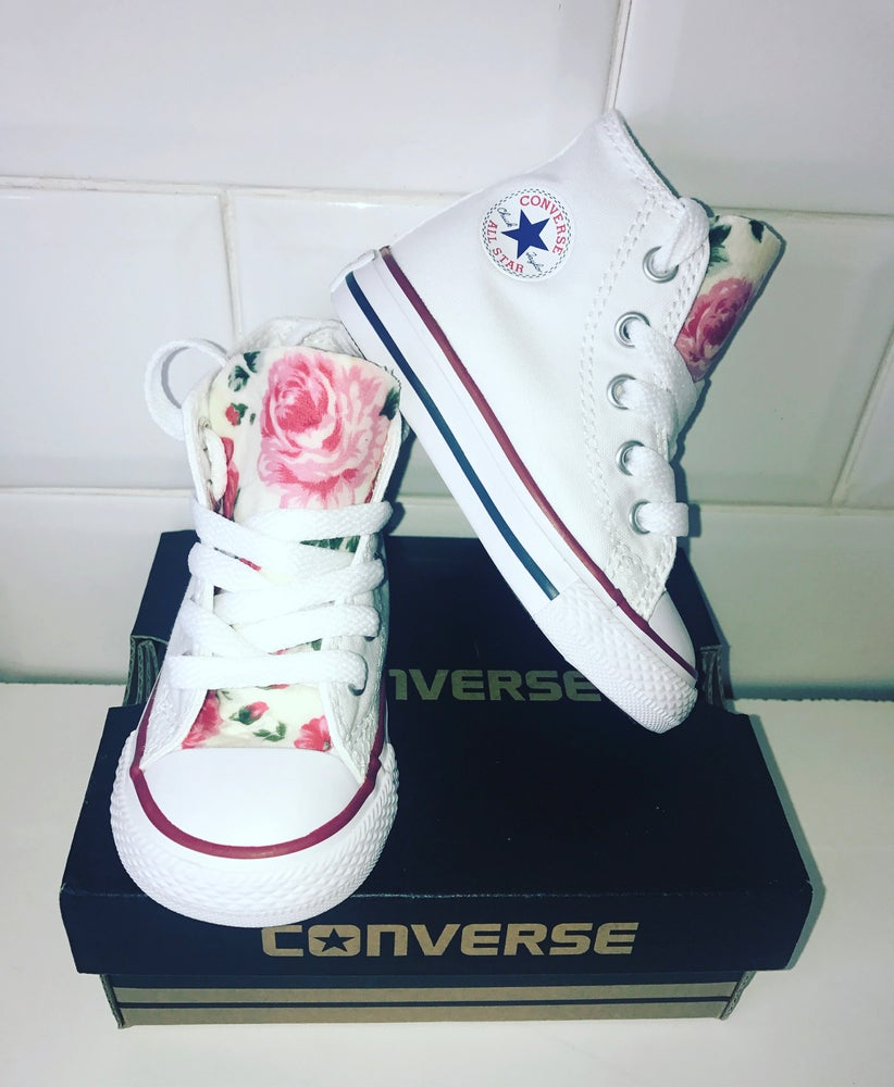 Image of White floral hitop converse