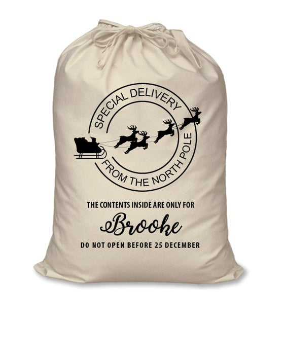 Image of Personalised Santa Sack - 'Special Delivery' - calico