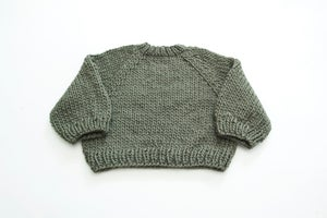 Image of PRE-ORDER Kingston Chunky hand knit Sweater of Peruvian wool (shown in dusty green-more colours)