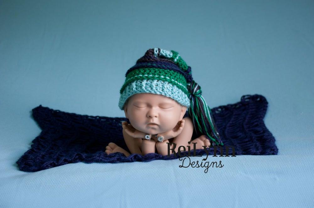 Image of Navy, Emerald, Aqua and Charcoal Tassel Hat
