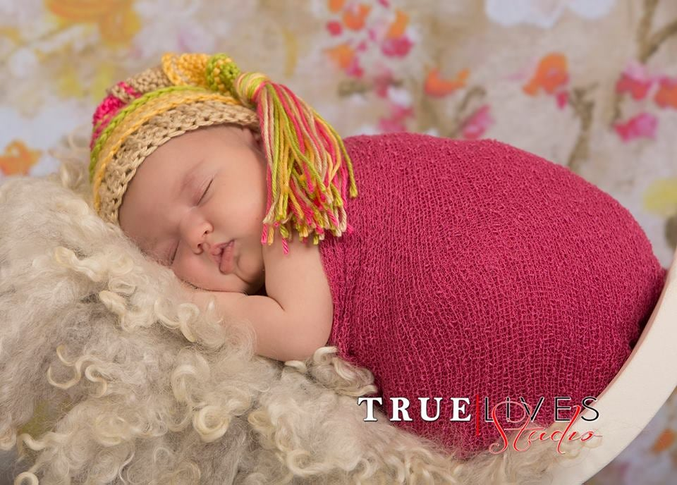 Image of Chartreuse, Yellow, Bone and Hot Pink Tassel Hat