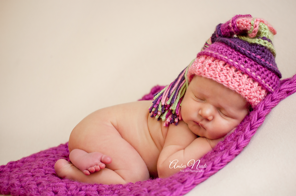 Image of Autumn Sunset Tassel Hat- Plum, Fuchsia, Coral and Sage