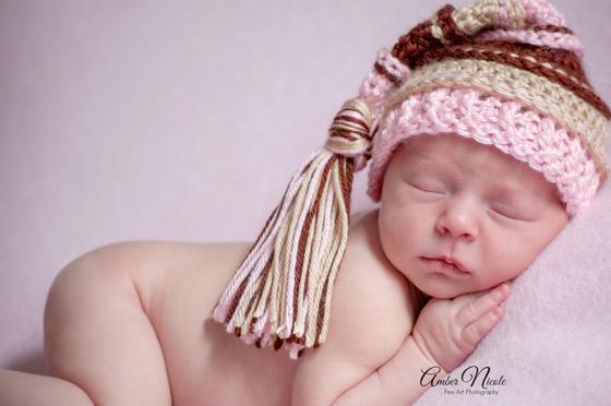 Image of Pink, Brown, Bone Tassel Hat