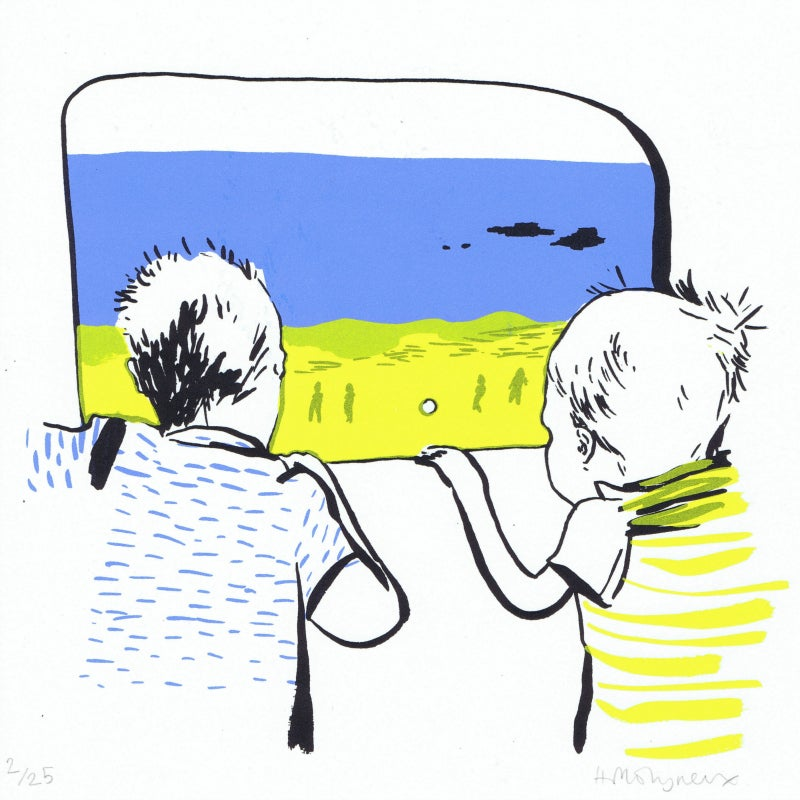 Image of Boys on a train : editioned screenprint by Hannah Molyneux