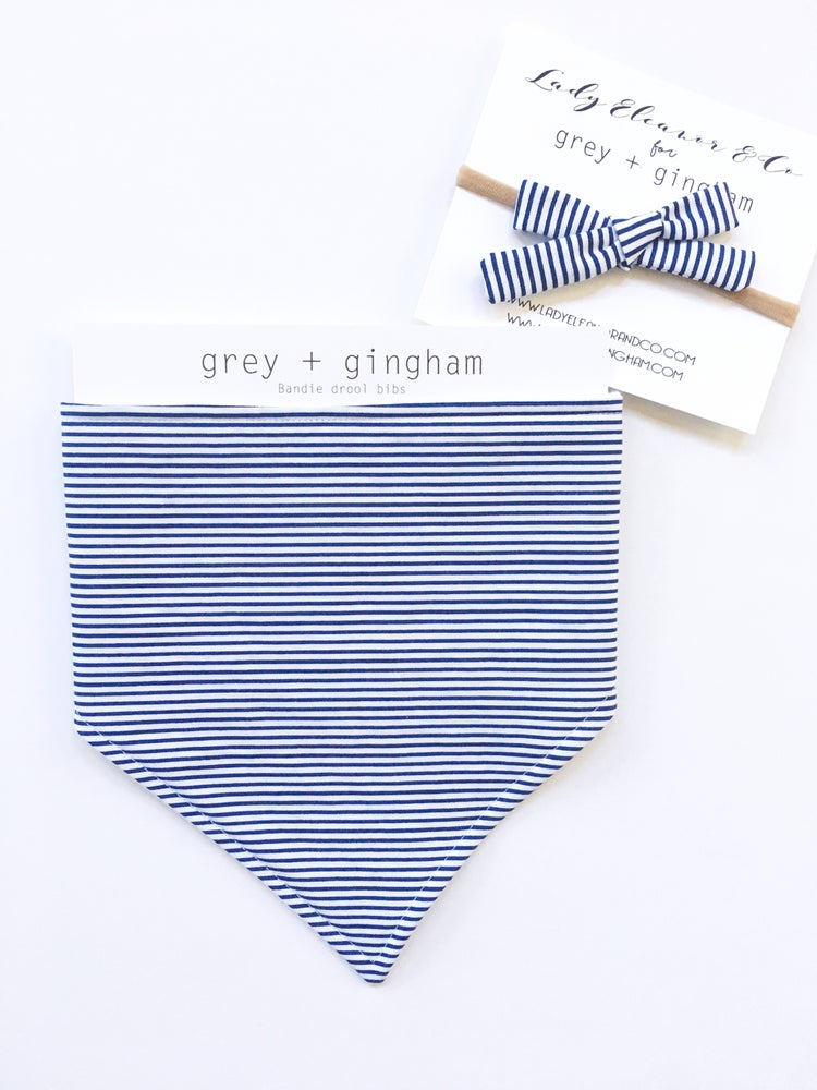 Image of Navy Stripe Bandie & Bow