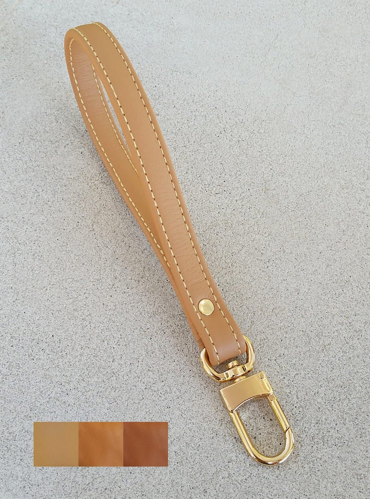 Image of Tan Leather Wrist Strap with Yellow Stitching - Choose Leather Color & Gold or Nickel #16LG Clasp