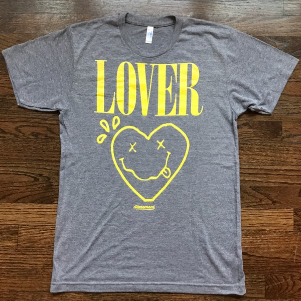 "Image of The ""Lover - Smiley Heart"" Triblend Tee in Gray"