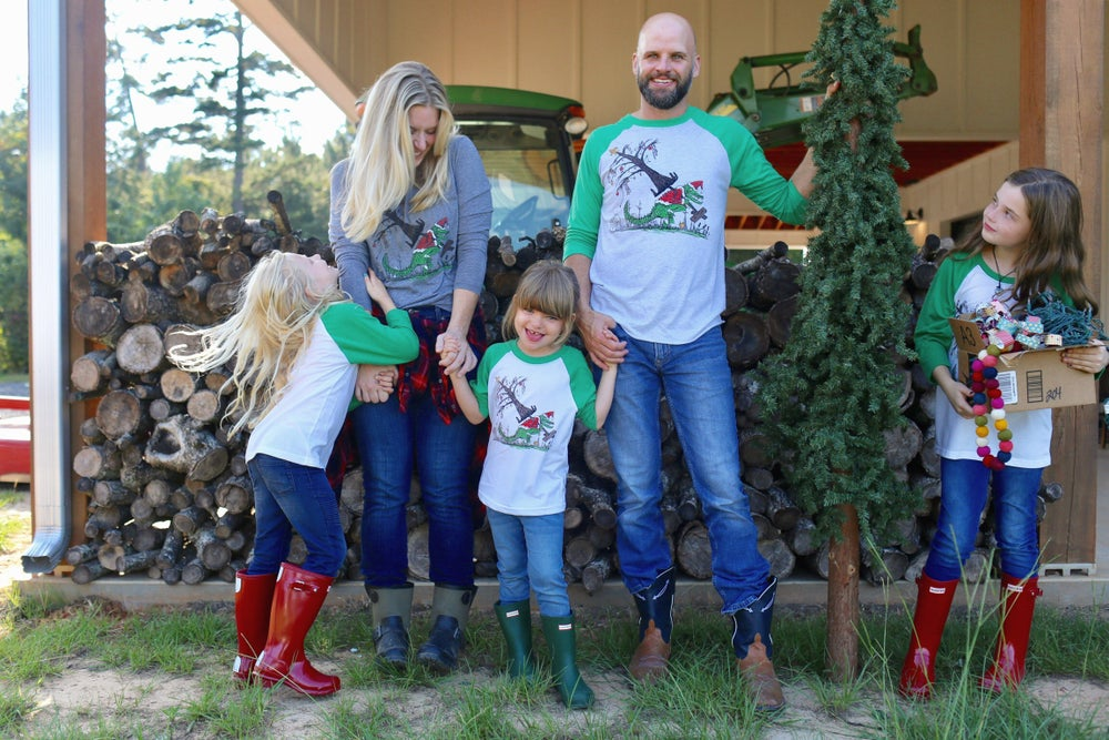 Image of Adult How the Gator Stole Christmas 3/4 length Raglan
