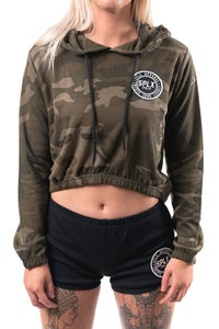Image of SPLX Womens Camo Cropped Hoodie