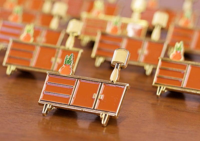Mid century modern danish sideboard credenza enamel pin for Mid century modern design principles