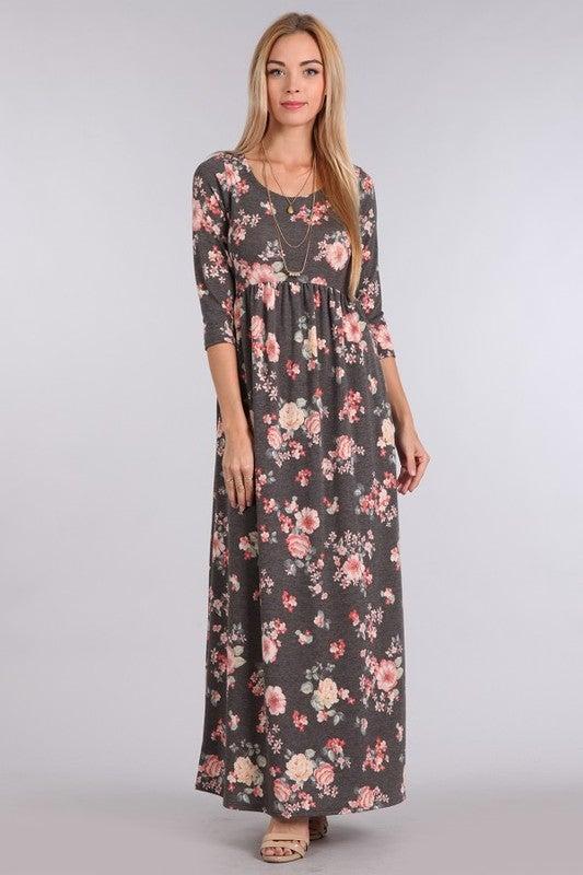 Image of Charcoal Floral Maxi Dress | S-L