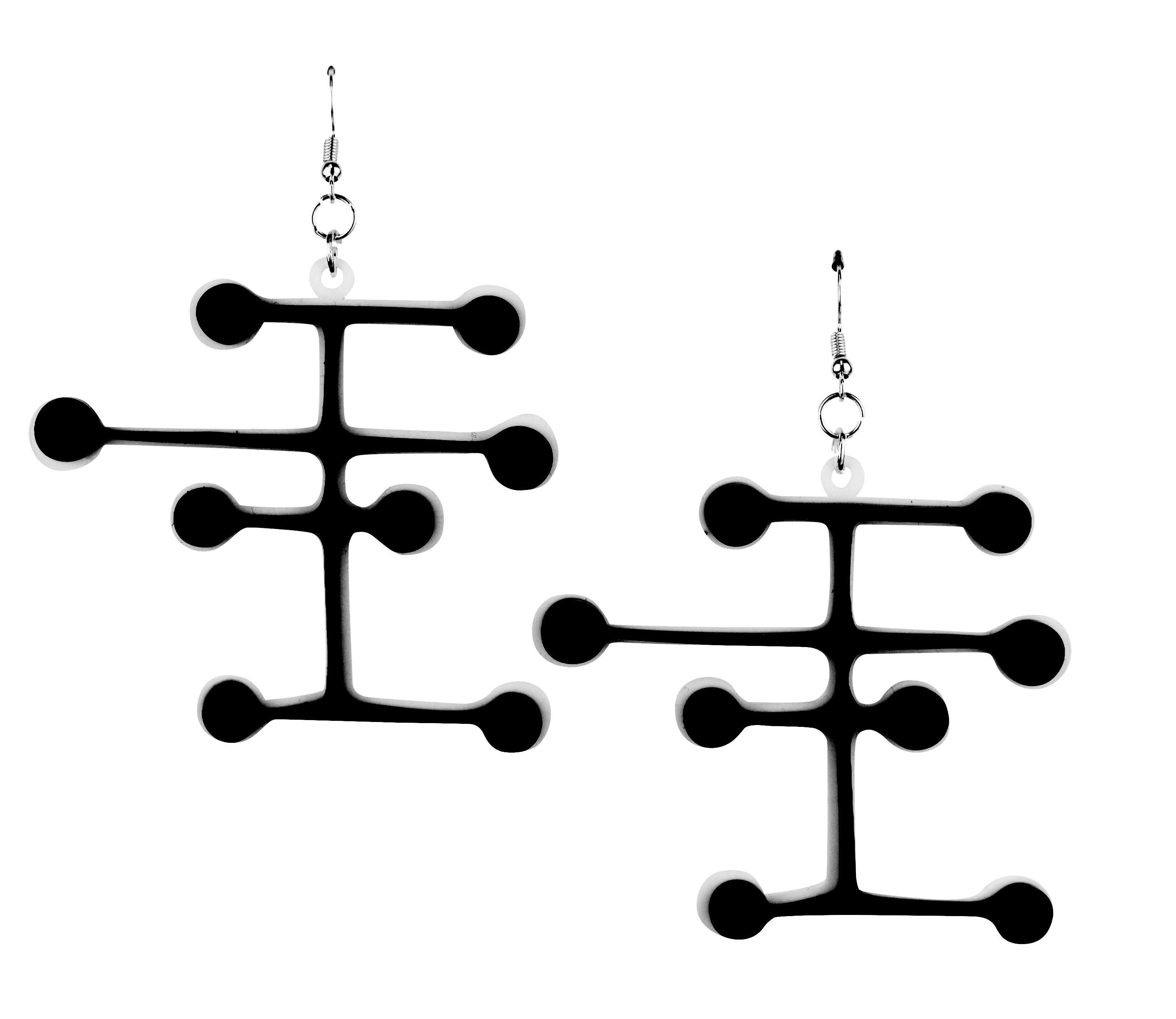 Mid century modern dot earrings black heart creatives for Mid century modern design principles