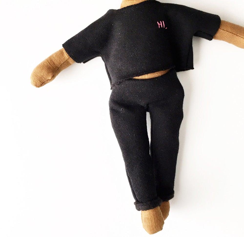 Image of Black raw cut HI. sweatsuit - 2pc doll accessory