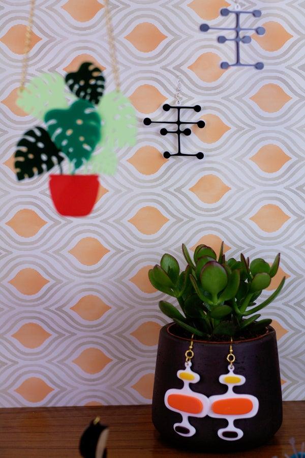 Mid Century Modern Oval Pattern Earrings - Black Heart Creatives