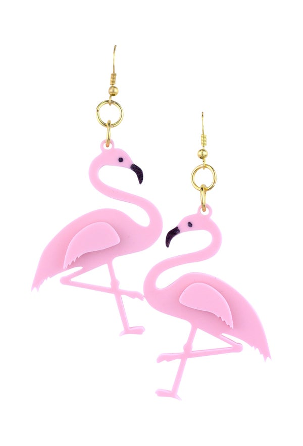 Tickled Pink Flamingo Drop Earrings - Black Heart Creatives