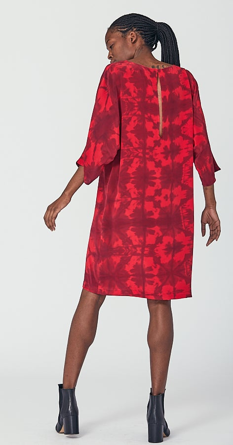 Image of Hand Dyed Silk Dress with Batwing Sleeve