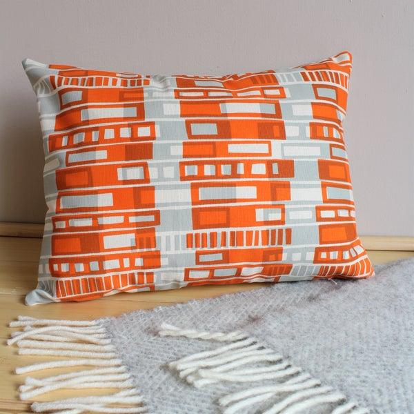 Image of Block Print cushion in orange and grey