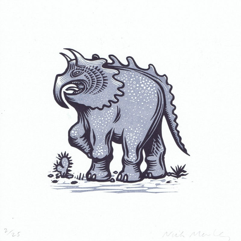 Image of Angry Monster : editioned linocut by Nick Morley