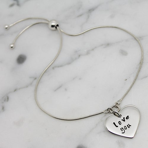 Image of Personalised Small Heart Slider Bracelet