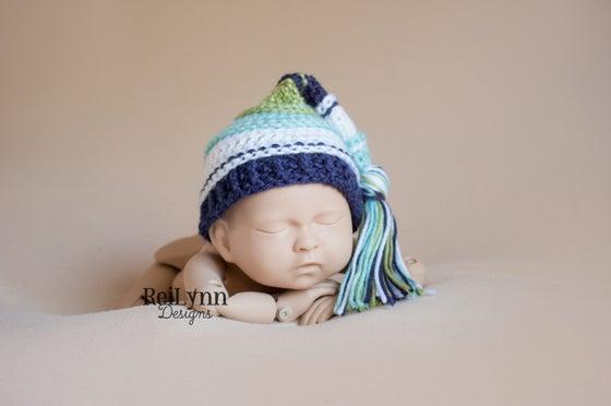 Image of Aqua, White, Navy and Sage Tassel Hat