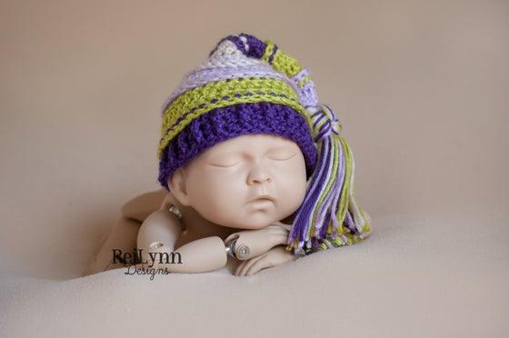 Image of Lavender, Chartreuse, Purple and Beige Tassel Hat