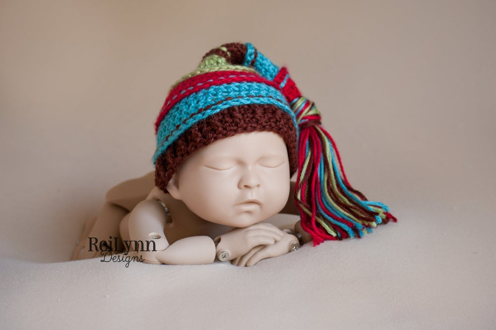 Image of Red, Turquoise, Brown and Sage Tassel Hat