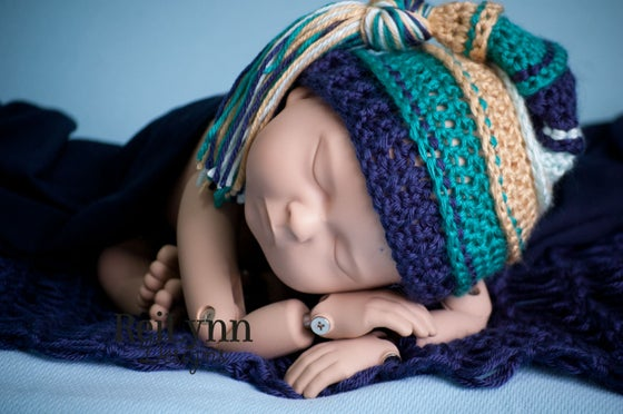 Image of Gold, Teal, Navy and Mint Tassel Hat