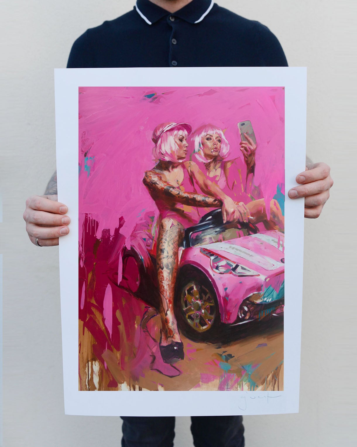 Image of Limited Edition 'PINK CAR SELFIE' Lithograph Print