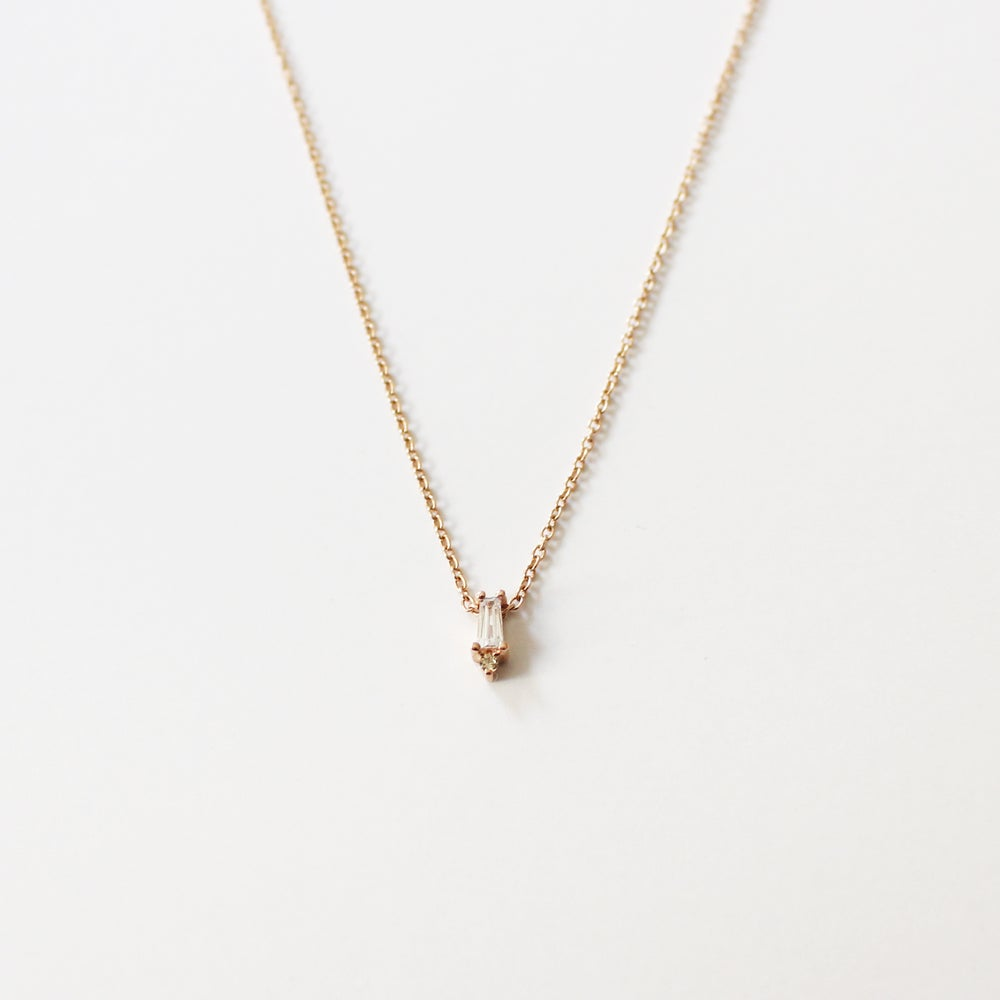 Image of Baguette Solitaire Necklace