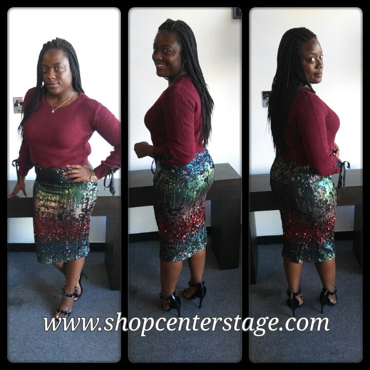 Image of Multi sequin pencil skirt