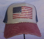 Image of Red White and Blue Acid Washed Baseball Hat Crystal American  Flag