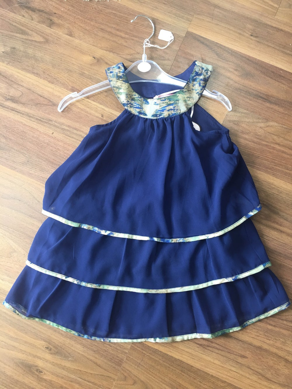 Image of Navy and gold ruffle layer dress