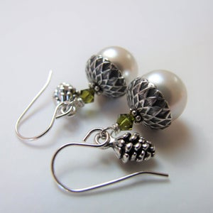 Image of Forest Bounty - Silver Acorns With Pine Cones (Silver)