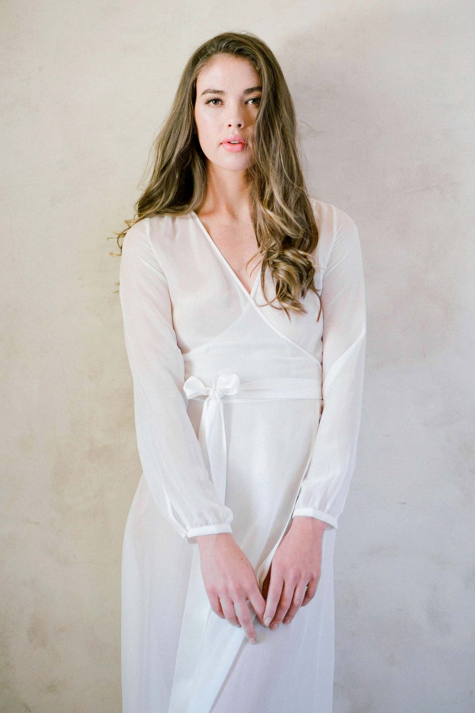 Image of Nina Silk Chiffon Wrap Robe in Ivory - style R130