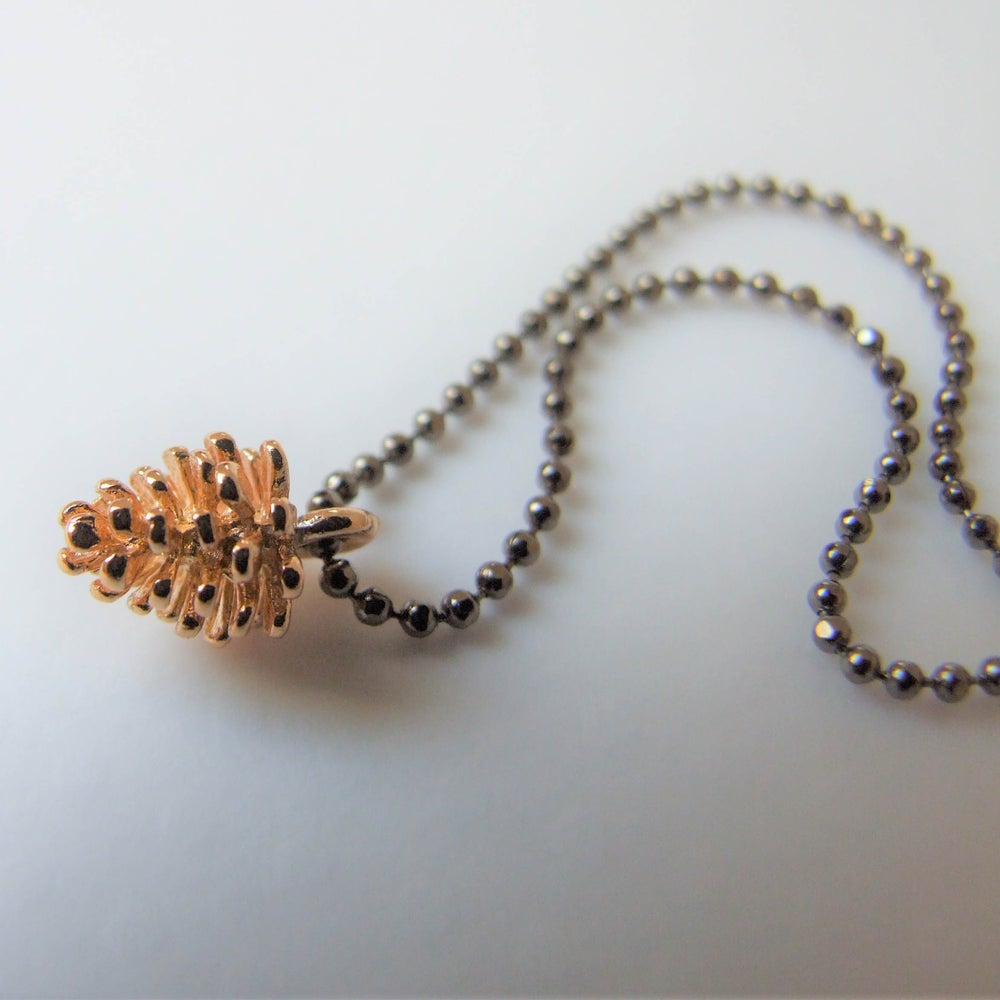 Image of Simple Pine Cone Necklace (Gold on Gunmetal)