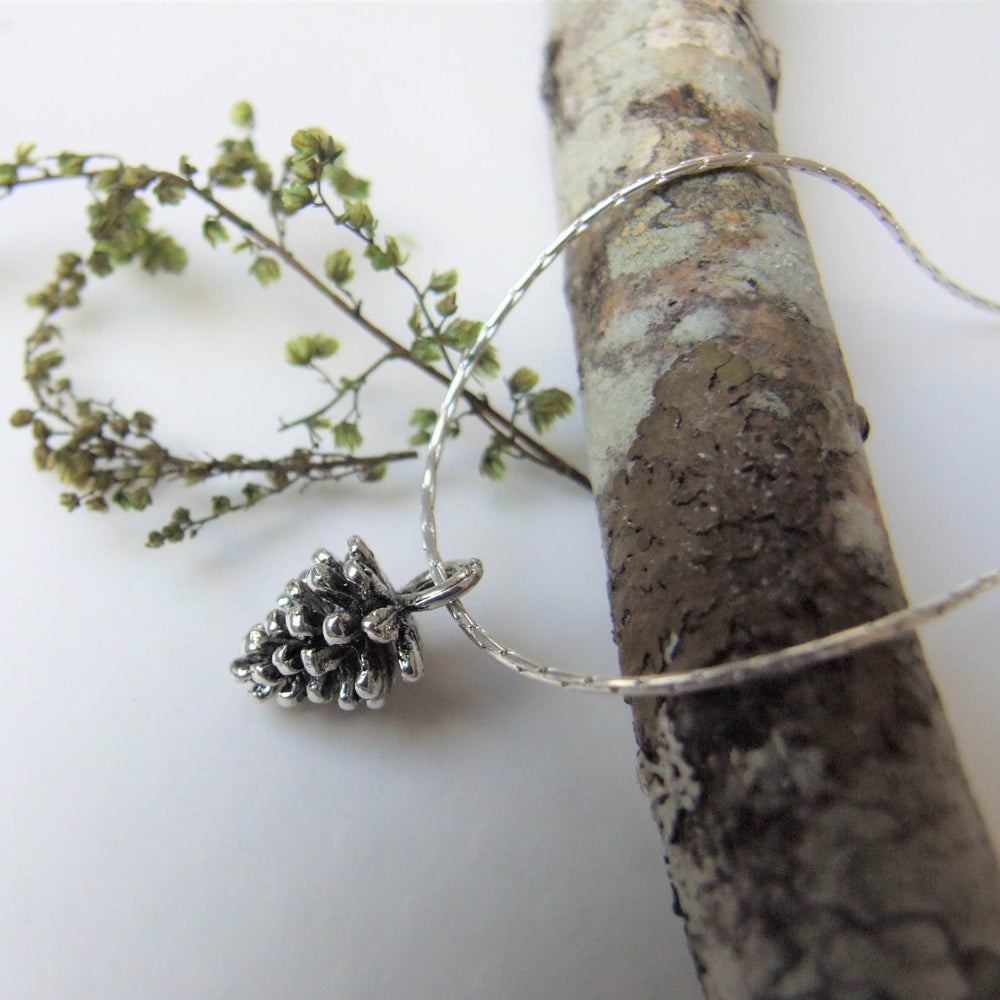 Image of Simple PIne Cone Necklace (Silver on Silver Chain)