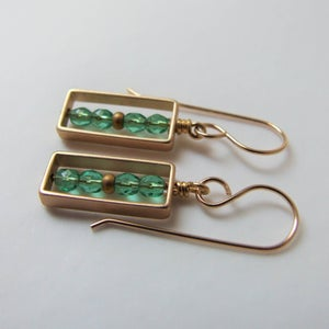 Image of Emerald Rectangle Earrings