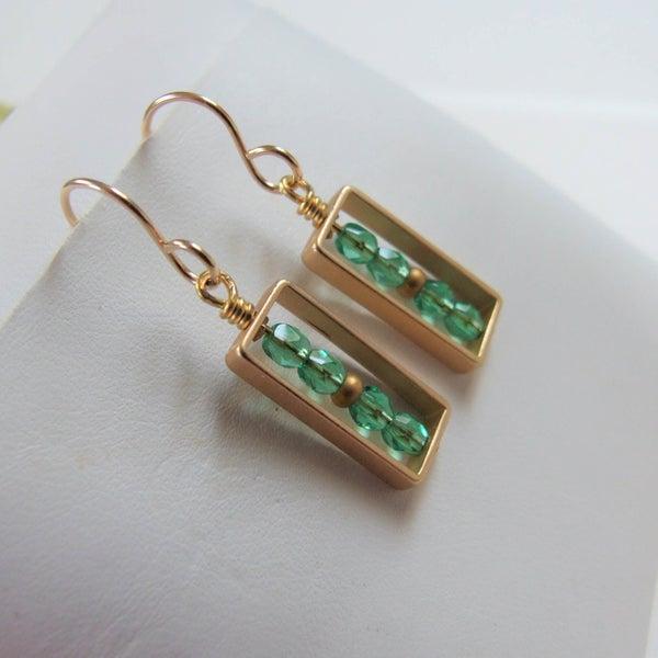 Image of Emerald Rectangle Earrings