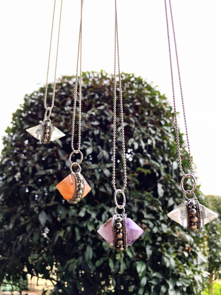 Image of Double pointed crystal necklace