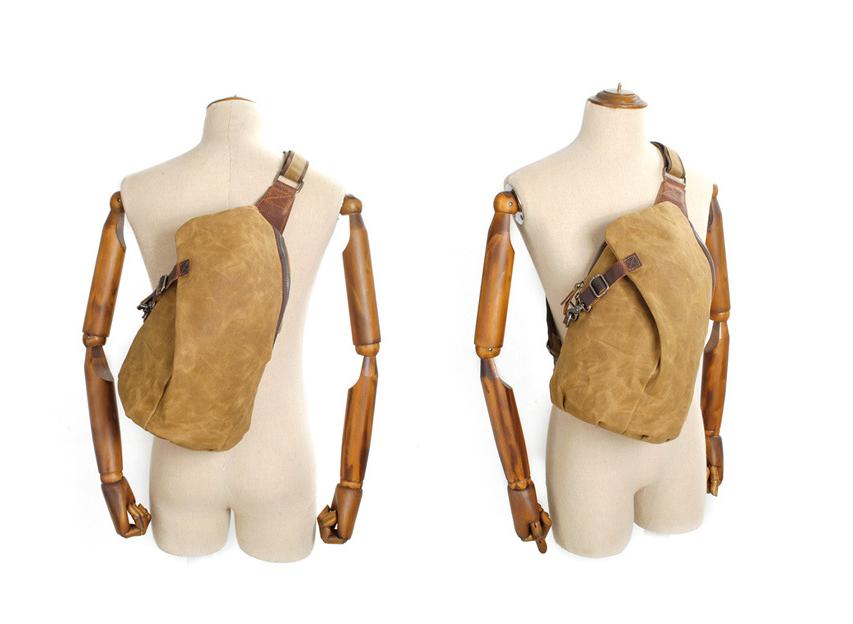 Image of canvas sling backpack canvas shoulder sling bag