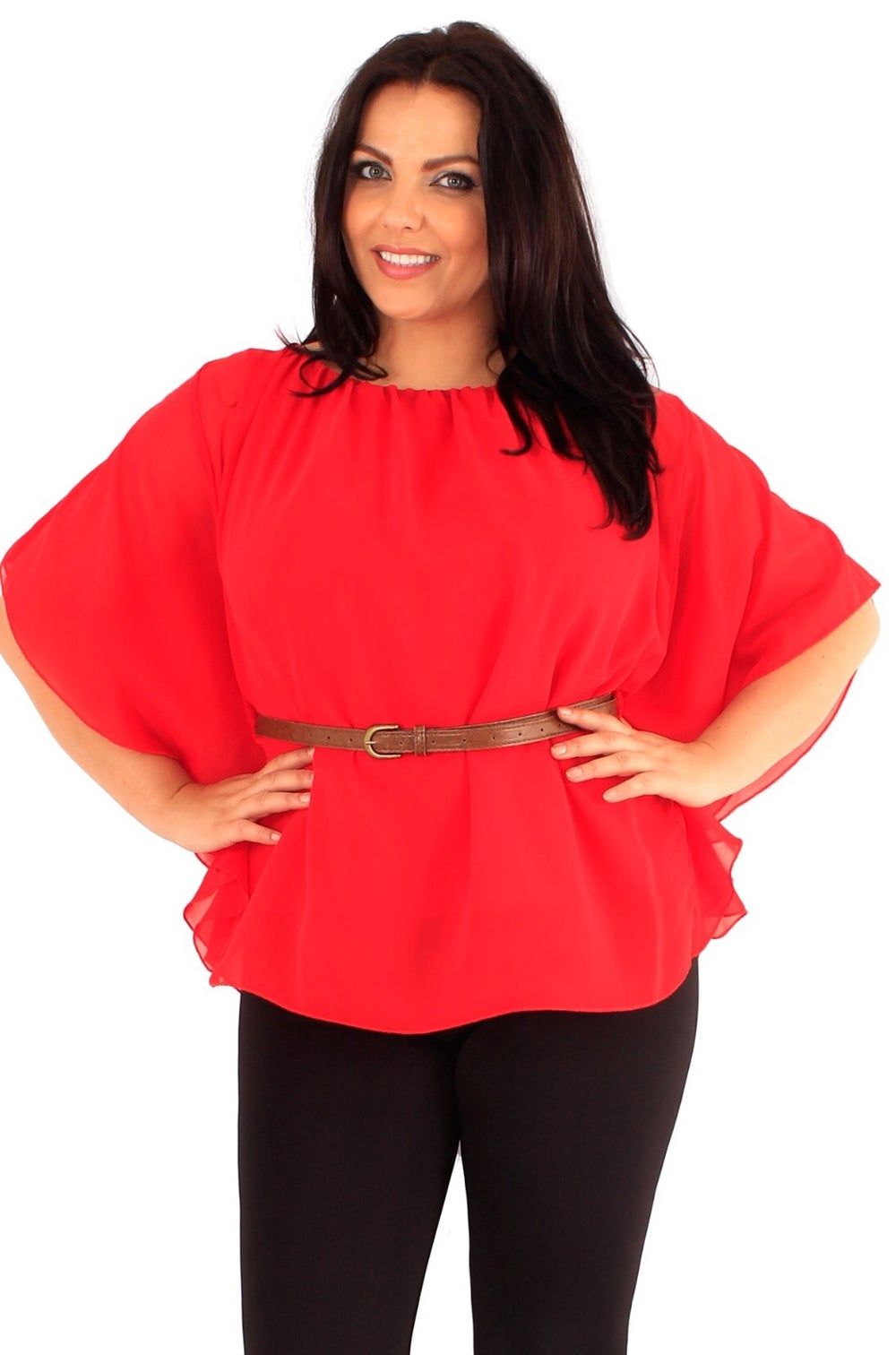 Image of Red batwing top with detachable belt