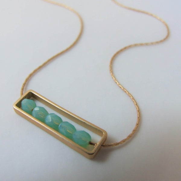 Image of Green Opaline Abacus Necklace